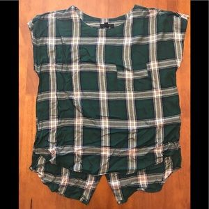 Plaid pocket blouse green with button down back